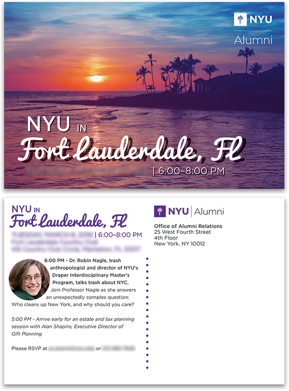 NYU in Fort Lauderdale Postcard Front and Back